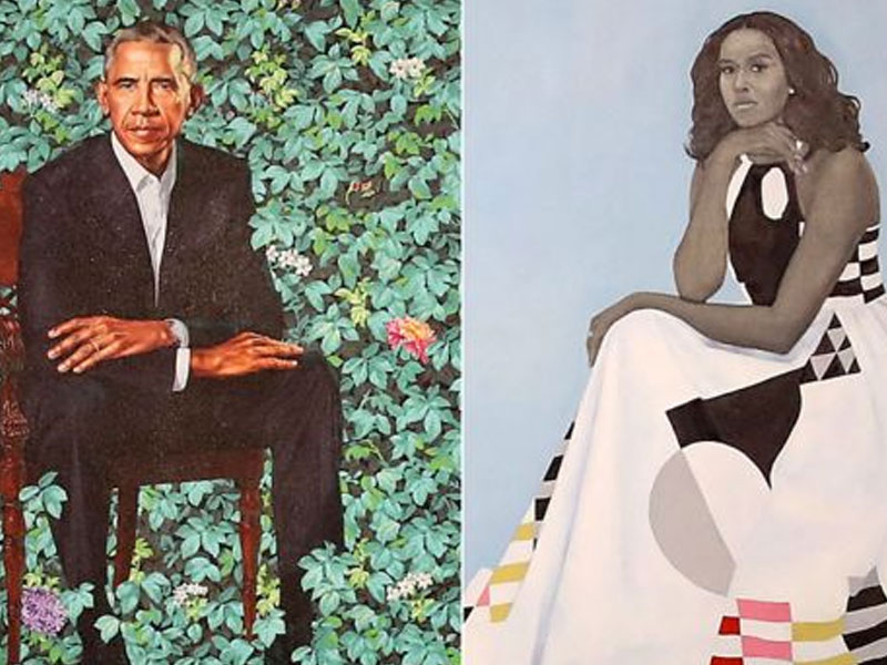 Barrack and Michelle Obama's portraits revealed at National Portrait Gallery