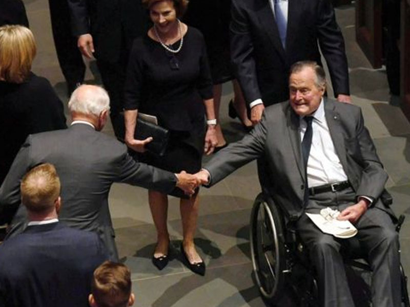 Bush moved to regular hospital room, in good spirits