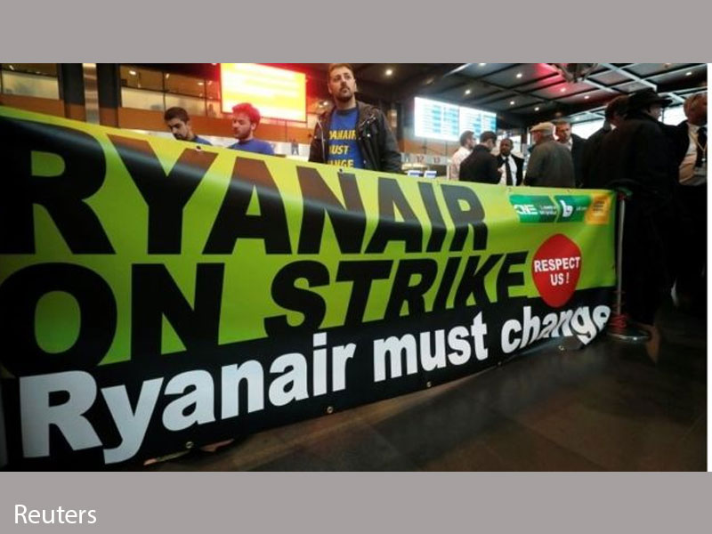 Ryanair staff strike in six European Union countries
