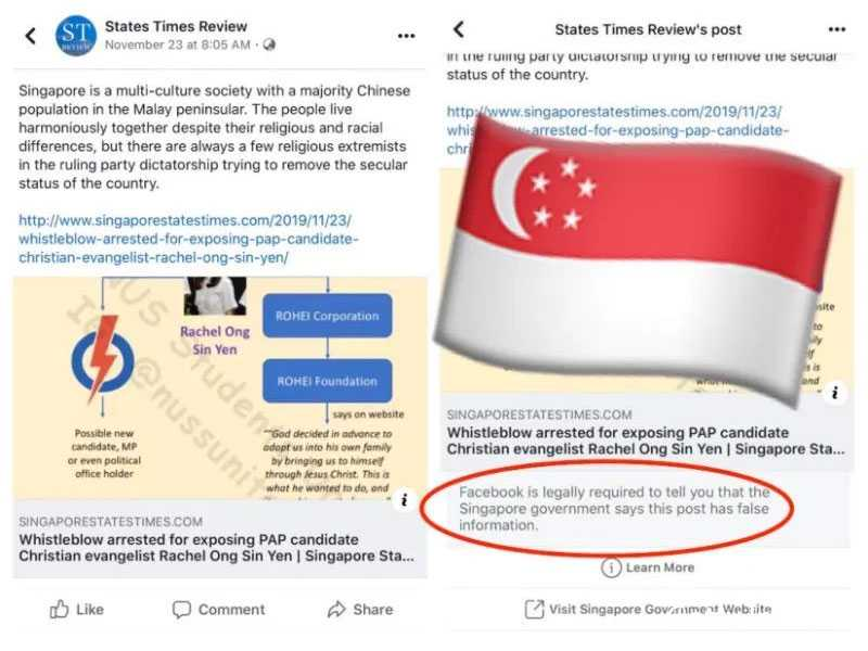 Facebook issues first correction notice at Singapore's request