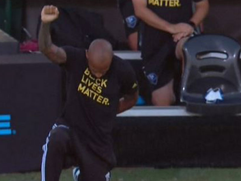 Black Lives Matter: Thierry Henry takes a knee for 8mins 46secs